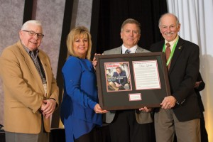2015 Trenchless Technology Person of the Year Dan Liotti with his wife Laura with Dr. Tom Iseley (left) and Trenchless Technology  publisher Bernie Krzys (right).