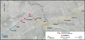 When complete in 2018 the Confederation Line will comprise 13 stations and span 12.5 km from Blair Station in the east to Tunney's Pasture in the west. Included in the alignment is a 2.5-km tunnel through the downtown core, with three underground stations.