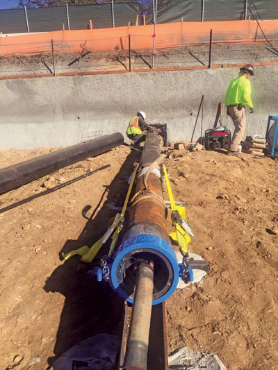 Mocon Trenchless used a 10-in. diameter Grundoram Gigant from trenchless equipment manufacturer TT Technologies to ram the 12-in. casing over 85 ft in tough conditions.
