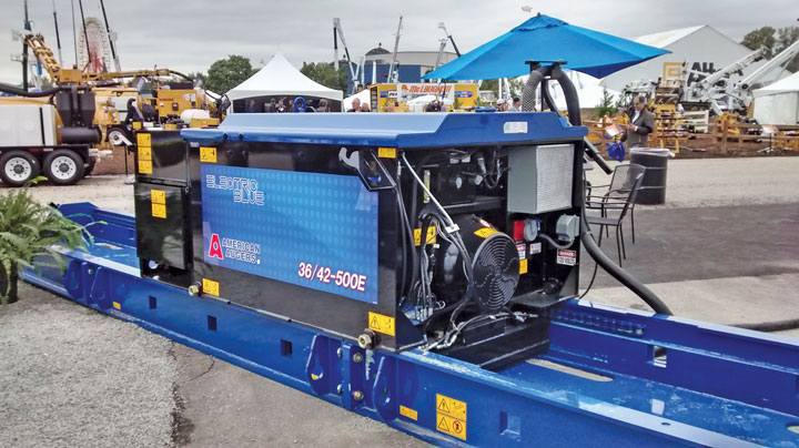 American Augers unveiled its Electric Blue electric auger boring machine, which it purchased from Sharewell at the end of 2014. AA made some tweaks and reworked parts of it, debuting the rebranded machine at ICUEE.