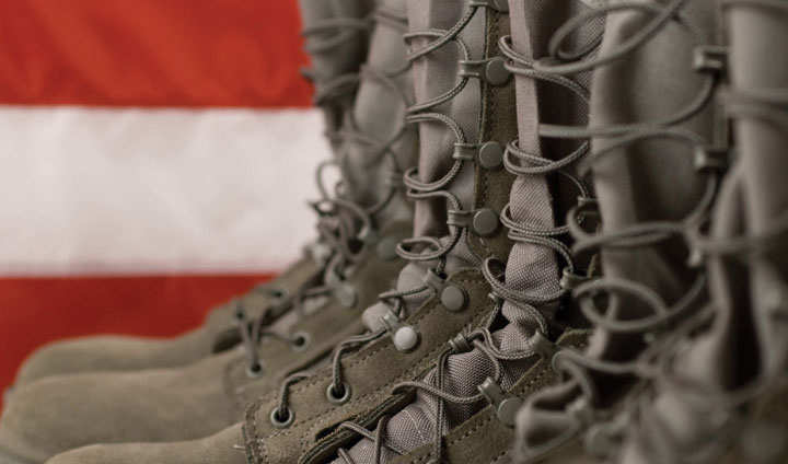 army boots and U.S. flag