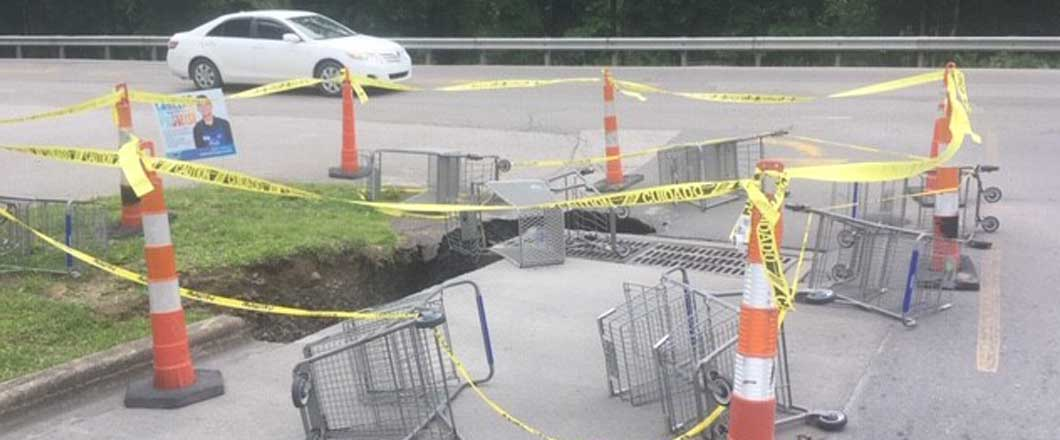 sinkhole in Kroeger parking lot